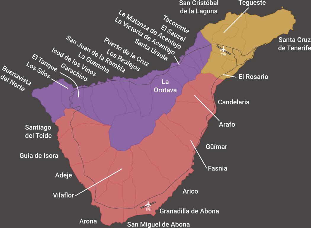 Tenerife Map with pickup zones